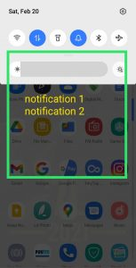 Notification bar in phone